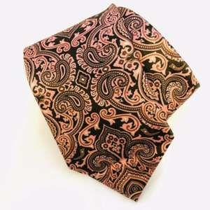 Ermenegildo Zegna Silk Paisley Pink Black Tie